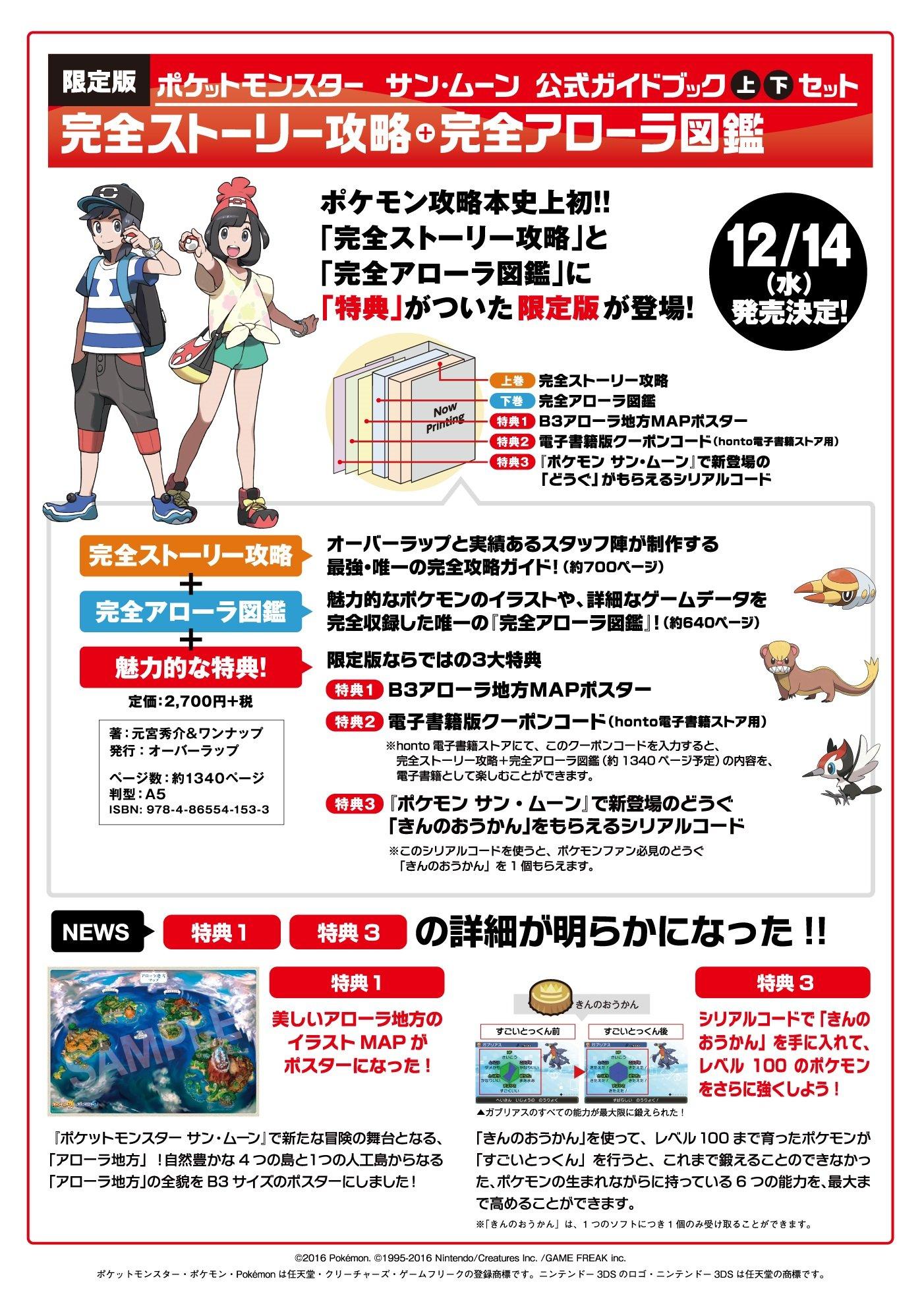 ポケモンサンムーン」の公式攻略本上下巻が発売! セット特典には「きん